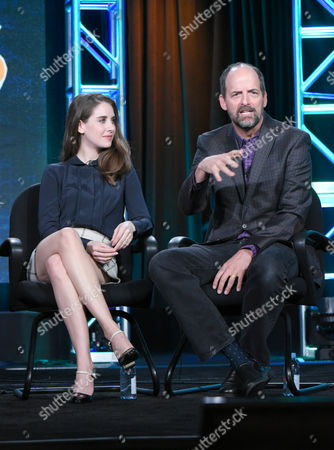 """Alison Brie, left, and Jay Martel participate in the """"Teachers"""" panel at the TV Land 2016 Winter TCA, in Pasadena, Calif"""