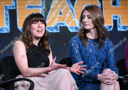 "Caitlin Barlow, left, and Katy Colloton speak during the ""Teachers"" panel at the TV Land 2016 Winter TCA, in Pasadena, Calif"