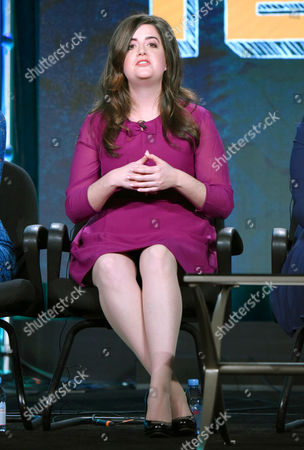 """Cate Freedman speaks during the """"Teachers"""" panel at the TV Land 2016 Winter TCA, in Pasadena, Calif"""