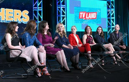 "Caitlin Barlow, from left, Katy Colloton, Cate Freedman, Kate Lambert, Katie O'Brien, Kathryn Renee Thomas and Alison Brie and Jay Martel participate in the ""Teachers"" panel at the TV Land 2016 Winter TCA, in Pasadena, Calif"