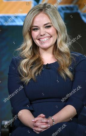 "Kate Lambert speaks during the ""Teachers"" panel at the TV Land 2016 Winter TCA, in Pasadena, Calif"
