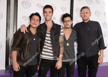 From left, Dave Rublin, Zachary Barnett, Matt Sanchez, and James Adam Shelley of American Authors are seen at the 30th Running of the Breeders' Cup World Championships Day 2, on in Arcadia, Calif
