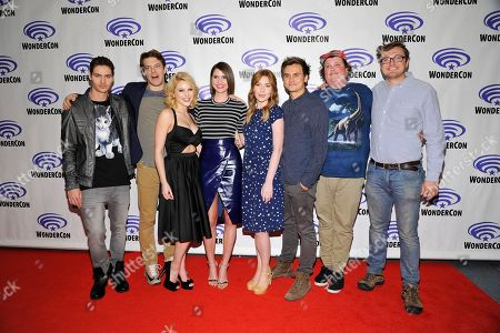 Will Peltz, Executive Producer Jason Blum, Renee Olstead, Shelley Hennig, Courtney Halverson, Moses Jacob Storm, Jacob Wysockiseen and Writer Nelson Greaves at the Blumhouse Productions: Unfriended and Insidious: Chapter 3 Panels at 2015 Wondercon, in Anaheim, CA