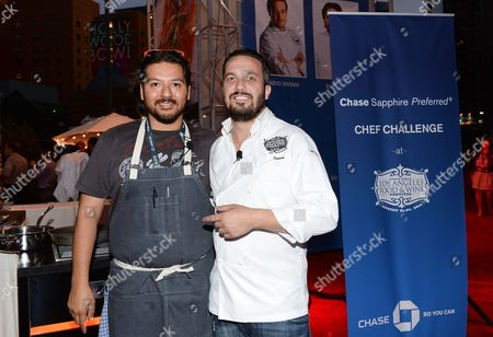 Chefs Ray Garcia, left, and Fabio Viviani at the Ultimate Bites of L.A. presented by Chase Sapphire Preferred, at the Los Angeles Food & Wine Festival, presented by FOOD & WINE, on in Los Angeles