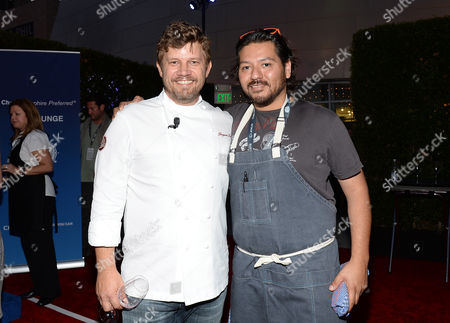 Chefs Ben Ford, left, and Ray Garcia at the Ultimate Bites of L.A. presented by Chase Sapphire Preferred, at the Los Angeles Food & Wine Festival, presented by FOOD & WINE, on in Los Angeles