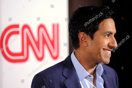 Dr, Sanjay Gupta of CNN poses at the CNN Worldwide All-Star Party,, in Pasadena, Calif