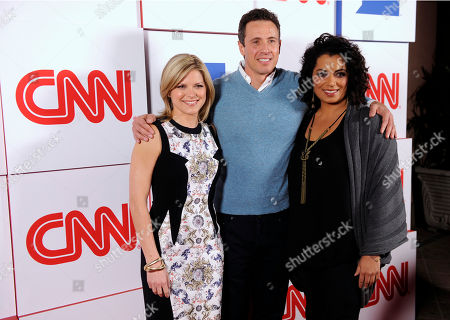 "Kate Bolduan, left, Chris Cuomo, center, and MIchaela Pereira of the CNN morning show ""New Day"" pose together at the CNN Worldwide All-Star Party,, in Pasadena, Calif"