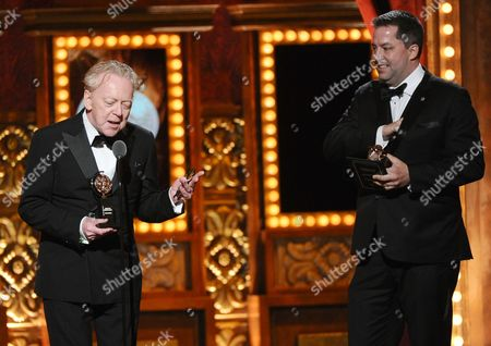 "Benjamin Pearcey, right, and Bob Crowley accept the award for best play for ""The Curious Incident of the Dog in the Night-Time,"" at the 69th annual Tony Awards at Radio City Music Hall, in New York"