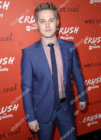 "Actor Lucas Grabeel arrives at the ""Crush by ABC Family"" collection launch party hosted ABC Family and Wet Seal at The London hotel in West Hollywood, Calif. on"