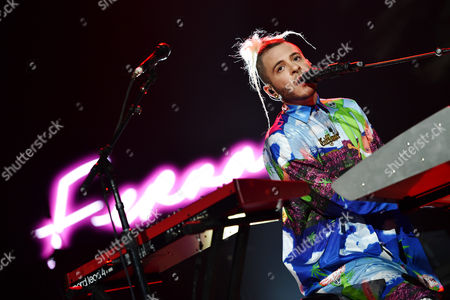 "Ferras performs on stage at ""The Prismatic World Tour"" at the Honda Center, in Anaheim, Calif"