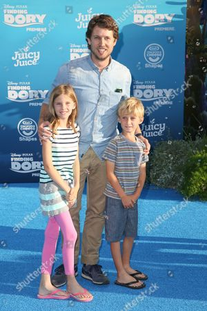 "Jon Heder, center, and family arrive at the Premiere of ""Finding Dory"" at the El Capitan Theatre, in Los Angeles"