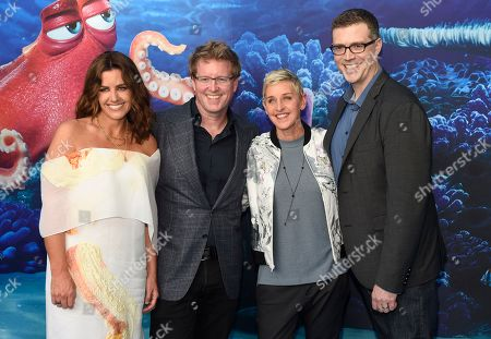 "Producer Lindsey Collins, from left, writer/director Andrew Stanton, Ellen DeGeneres and co-director Angus MacLane arrive at the premiere of ""Finding Dory"" at the El Capitan Theatre, in Los Angeles"