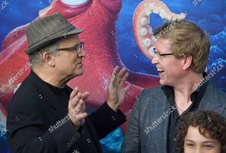 "Albert Brooks, from left, writer/director Andrew Stanton and Hayden Rolence arrive at the premiere of ""Finding Dory"" at the El Capitan Theatre, in Los Angeles"