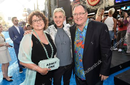"Nancy Lasseter, from left, Ellen DeGeneres, and executive producer John Lasseter arrive at the premiere of ""Finding Dory"" at the El Capitan Theatre, in Los Angeles"