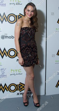 Model Letitia Herod arrives in the press room for the 2012 MOBO Awards at the Echo Arena in Liverpool