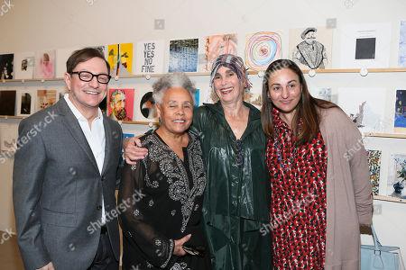 From left, Photographer Matthew Rolston, artist Betye Saar, Elsa Longhauser, Executive Director, Santa Monica Museum of Art and gallerist Diane Rosenstein pose during the 2014 Santa Monica Museum of Art PRECOGNITO Gala, in Santa Monica, Calif