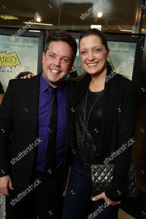 "Mike Jutan and Senior VP Business Affairs of New Line Cinema - Carolyn Blackwood seen at New Line Cinema Los Angeles Special Screening of ""Batkid Begins"" at The Landmark Theatre, in Los Angeles, CA"