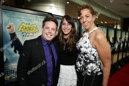 """Mike Jutan, Director/Producer/Writer Dana Nachman and Executive Director, Make-A-Wish Greater Bay Area - Patricia Wilson seen at New Line Cinema Los Angeles Special Screening of """"Batkid Begins"""" at The Landmark Theatre, in Los Angeles, CA"""