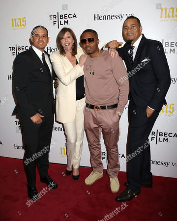 "From left, director One9, producer Jane Rosenthal, rapper Nas and producer Erik Parker attend the premiere of ""Nas: Time Is Illmatic"" at the Museum of Modern Art on in New York"