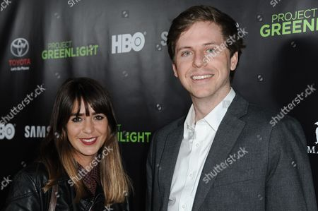 Ashley Barnhill, left, and Kirk Johnson arrive at Project Greenlight Season Four Winner Revealed, in Los Angeles