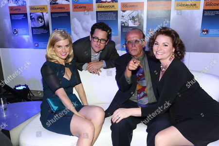 "Stock Picture of Alice Eve, J.J. Abrams, Peter Weller, and Shari Stowe gather at the ""Star Trek Into Darkness"" home entertainment launch party on Tuesday, Sept, 10, 2013 at the California Science Center in Los Angeles"