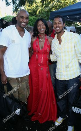 """L-R) Datari Turner, Robi Reed and Wesley Jonathan at Robi Reed's 10th Annual """"Sunshine Beyond Summer"""" Celebration - The Day Party with a Purpose at the Getty House, in Los Angeles"""