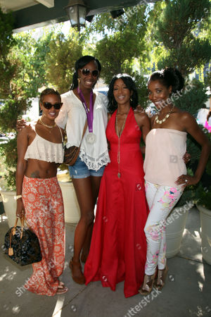"Eva Pigford, Destinee Hooker, Robi Reed, and Kita Williams, left to right, are seen at Robi Reed's 10th Annual ""Sunshine Beyond Summer"" Celebration - The Day Party with a Purpose at the Getty House, in Los Angeles"