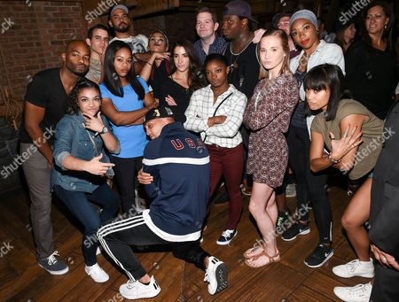 """Brandon Victor Dixon, Rory O'Malley, Okieriete Onaodowan, Karla Garcia Members of the """"Final Five"""" Rio Olympics gold medal-winning U.S. Gymnastics team Gabby Douglas, Madison Kocian, Aly Raisman, Simone Biles and Laurie Hernandez visit backstage with the cast of """"Hamilton"""" after attending the performance at the Richard Rogers Theatre, in New York"""