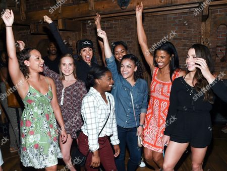 "Members of the ""Final Five"" Rio Olympics gold medal winning U.S. Gymnastics team,Madison Kocian, Simone Biles, Gabby Douglas, Laurie Hernandez, and Aly Raisman pose with ""Hamilton"" actors who play the Schuyler sisters, Jasmine Cephas Jones, Lexi Lawson and Renee Elise Goldsberry backstage after attending the performance at the Richard Rogers Theatre, in New York"