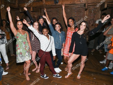 "Members of the ""Final Five"" Rio Olympics gold medal winning U.S. Gymnastics team,Madison Kocian, Simone Biles, Gabby Douglas, Laurie Hernandez, Aly Raisman pose with ""Hamilton"" actors who play the Schuyler sisters, Jasmine Cephas Jones, Lexi Lawson and Renee Elise Goldsberry backstage after attending the performance at the Richard Rogers Theatre, in New York"