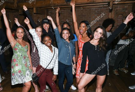 "Members of the ""Final Five"" 2016 Rio Olympics gold medal winning U.S. Gymnastics team, Madison Kocian, Simone Biles, Gabby Douglas, Laurie Hernandez, and Aly Raisman pose with ""Hamilton"" actors who play the Schuyler sisters, Jasmine Cephas Jones, Lexi Lawson and Renee Elise Goldsberry backstage after attending the performance at the Richard Rogers Theatre, in New York"