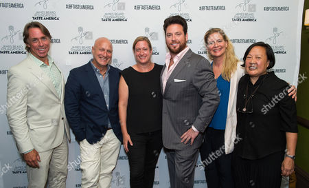 Taste America All-Stars, from left, John Besh, Tom Colicchio, Missy Robbins, Scott Conant, Amanda Freitag and Anita Lo at the kick-off event for the James Beard Foundation's Taste America's 10-city national tour, held at the James Beard House in New York City