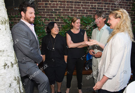 Stock Picture of Taste America All-Stars, from left, Scott Conant, Anita Lo, Missy Robbins, John Besh and Amanda Freitag at the kick-off event for the James Beard Foundation's Taste America's 10-city national tour, held at the James Beard House in New York City