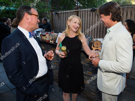 Stock Photo of Scott Hutcheson, from left, Patricia Clarkson and John Besh attend the kick-off event for the James Beard Foundation's Taste America's 10-city national tour, held at the James Beard House in New York City