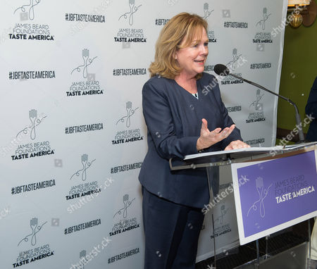 Susan Ungaro speaks at the kick-off event for the James Beard Foundation's Taste America 10-city national tour, held at the James Beard House in New York City