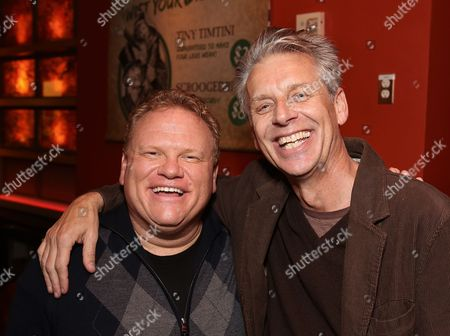 """From left, cast member Larry Joe Campbell and CTG Artistic Director Michael Ritchie pose during the party for the opening night performance of The Second City's """"A Christmas Carol: Twist Your Dickens!"""" at the Center Theatre Group's Kirk Douglas Theatre, in Culver City, Calif"""
