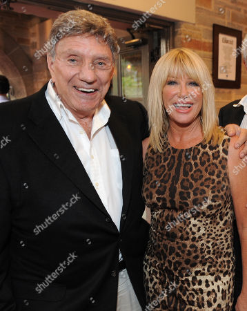 """Author William Peter Blatty and Suzanne Somers attends the world premiere opening of """"The Exorcist"""" at the Geffen Playhouse on in Westwood, California"""