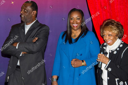 Cissy Houston, from right, Pat Houston and Gary Houston unveil Whitney Houston wax figures at Madame Tussauds in New York on