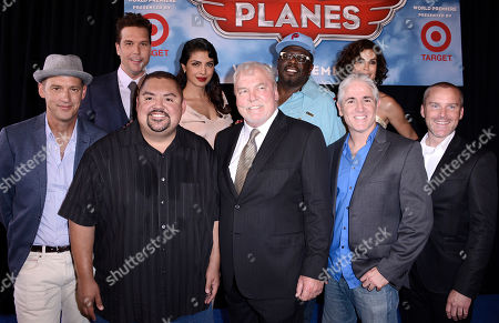"From left to right, actor Anthony Edwards, actor DaneCook, actor Gabriel Iglesias, actress Priyanka Chopra, actor Stacy Keach, actor Cedric the Entertainer, actor Carlos Alazraqui, actress Teri Hatcher and actor Robert Craig Smith arrive on the red carpet of the world premiere of Disney's ""Planes"" at the El Capitan Theatre on Monday, August, 5, 2013 in Los Angeles"