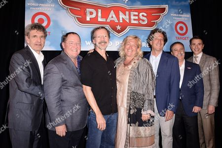 "From left to right, executive Alan Horn, executive John Lasseter, Ed Catmull, executive Meredith Roberts, executive Andrew Millstein, executive Alan Bergman and executive Ricky Strauss arrive on the red carpet of the world premiere of Disney's ""Planes"" at the El Capitan Theatre on Monday, August, 5, 2013 in Los Angeles"