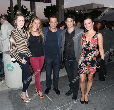 "From left, Actors Spencer Locke, Lindsey Bushman, Christian Jules LeBlanc, Robert Gillespie Adamson and Cooper Harris pose during the arrivals for the opening night performance of ""November"" at the Center Theatre Group/Mark Taper Forum, in Los Angeles, Calif"