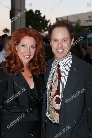 """From left, Jenna DeAngeles and Raphael Sbarge pose during the arrivals for the opening night performance of """"November"""" at the Center Theatre Group/Mark Taper Forum, in Los Angeles, Calif"""