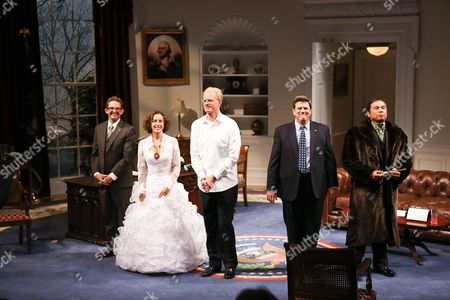 """Stock Picture of From left, cast members Todd Weeks, Felicity Huffman, Ed Begley, Jr., Rod McLachlan and Gregory Cruz take there curtain call after the opening night performance of """"November"""" at the Center Theatre Group/Mark Taper Forum, in Los Angeles, Calif"""