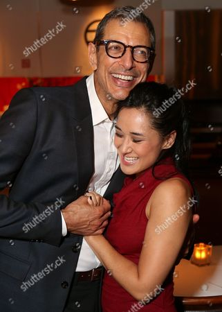 "From left, cast members Jeff Goldblum and Jennifer Ikeda pose during the party for the opening night performance of ""Seminar"" at the Center Theatre Group/Ahmanson Theatre on 17, in Los Angeles, Calif"