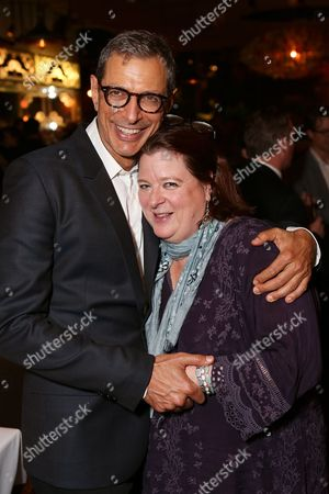 "From left, cast member Jeff Goldblum and playwright Theresa Rebeck pose during the party for the opening night performance of ""Seminar"" at the Center Theatre Group/Ahmanson Theatre on 17, in Los Angeles, Calif"