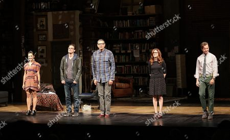 "From left, cast members Jennifer Ikeda, Greg Keller, Jeff Goldblum, Aya Cash and Lucas Near-Verbrugghe bow during the curtain call after the opening night performance of ""Seminar"" at the Center Theatre Group/Ahmanson Theatre on 17, in Los Angeles, Calif"