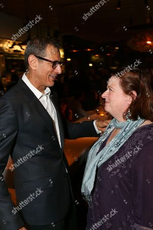 "From left, cast member Jeff Goldblum and playwright Theresa Rebeck talk during the party for the opening night performance of ""Seminar"" at the Center Theatre Group/Ahmanson Theatre on 17, in Los Angeles, Calif"