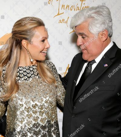Cassandra Mann, left, and Jay Leno arrive at the 10th annual Alfred Mann Foundation Gala, in Beverly Hills, Calif