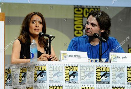 "Salma Hayek, left, and director Joe Lynch attend the RADiUS-TWC ""Everly"" panel on Day 2 of Comic-Con International, in San Diego"
