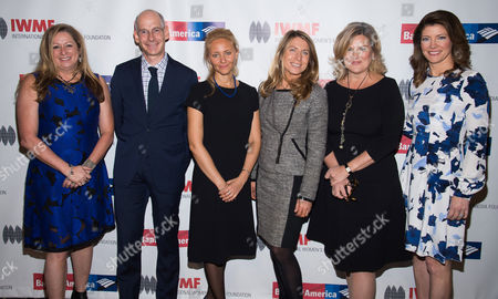 Abigail Disney, from left, James Goldston, Anna Nemtsova, Deborah Turness, Cynthia McFadden and Norah O'Donnell attend the International Women's Media Foundation's 26th Annual Courage in Journalism Awards at Cipriani's 42nd Street, in New York
